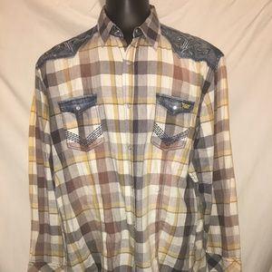 ROAR Refined Mens Embriodered Pearl Snap Shirt 3XL